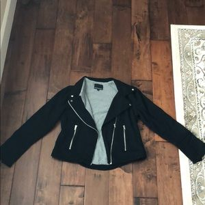 Black cotton Cynthia Rowley moto jacket